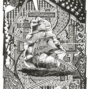 Clipper Sailing Ship, Nautical items, Compass, Helm wheel, Black and White Art, Pen and Ink drawing