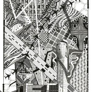 SeaTac Air Traffic Control Tower, black and white art, commercial airline silhouettes, runways, aerial land views